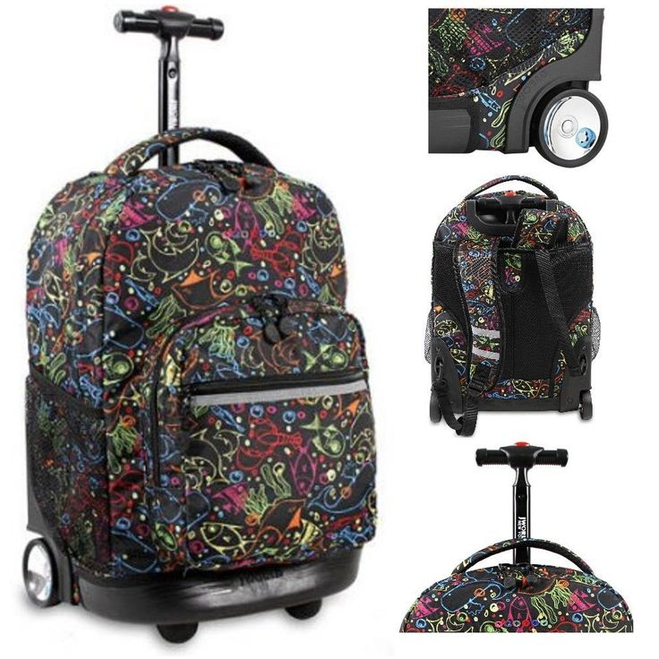 Girls Rolling Backpack Dolphin School Wheeled Bookbag Carryon Roller Bag Trolley