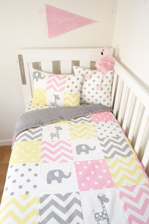 Patchwork Quilt Nursery Set Pink Yellow And Grey By Mamaandcub