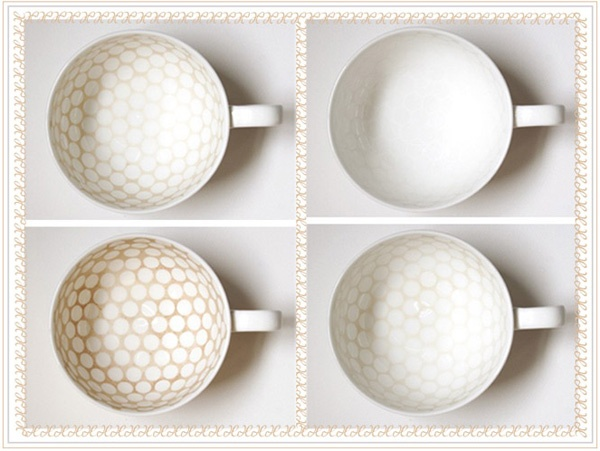 tea cups that stain in unique patterns.  the more you use the cup, the more the pattern is revealed.  genius.