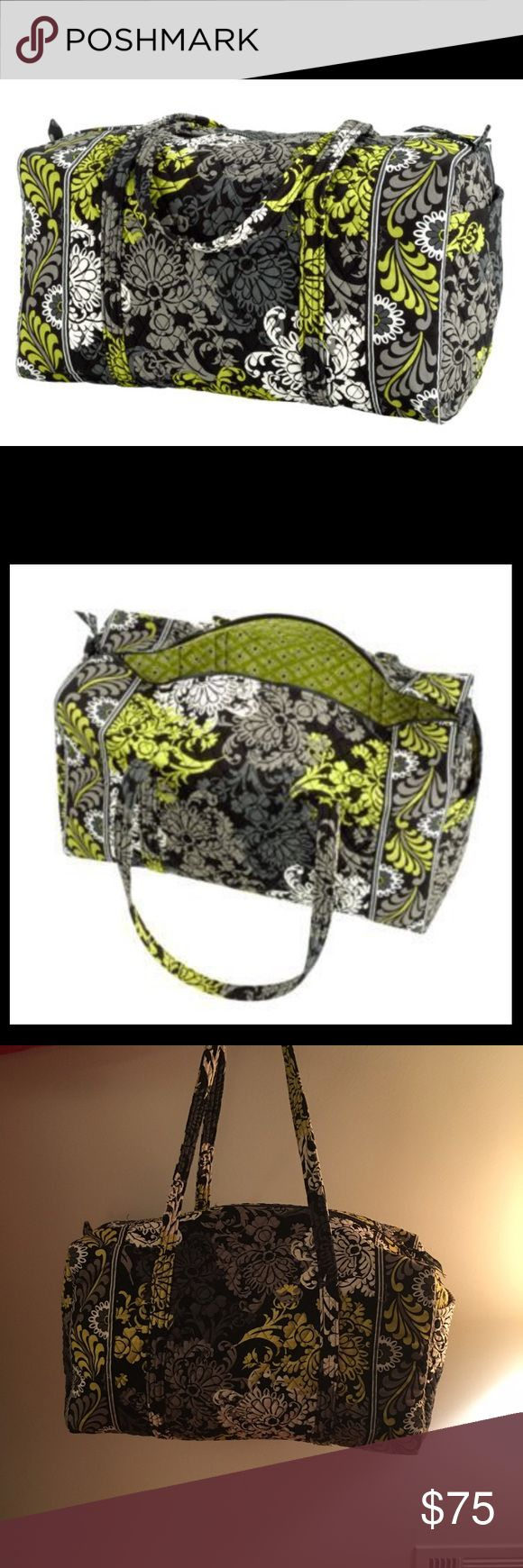 Vera Bradley Large Duffel in Baroque Print Preloved Vera Bradley large duffel in Baroque print. Green, white, and black. Perfect for travel! Please note first 2 pictures are stock photos. Vera Bradley Bags Travel Bags
