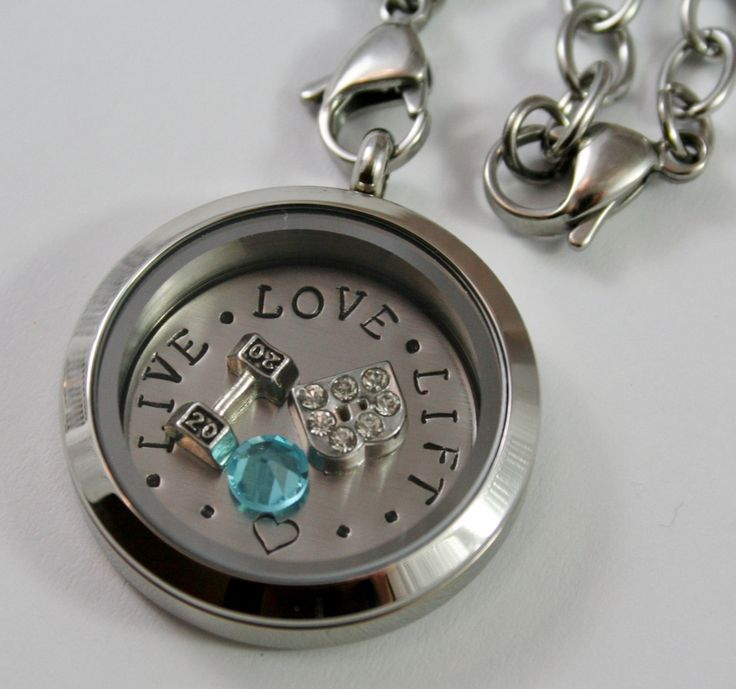 Fitness themed floating locket WITH 2 by HeartsInYourJewelry, $45.00