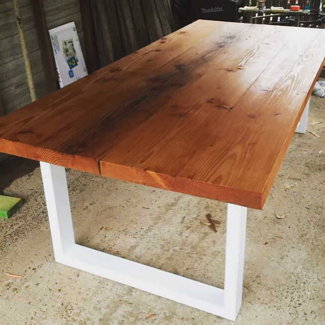 Large Outdoor Dining Table Made From Reclaimed Oregon U0026 Steel Legs Powder  Coated White.