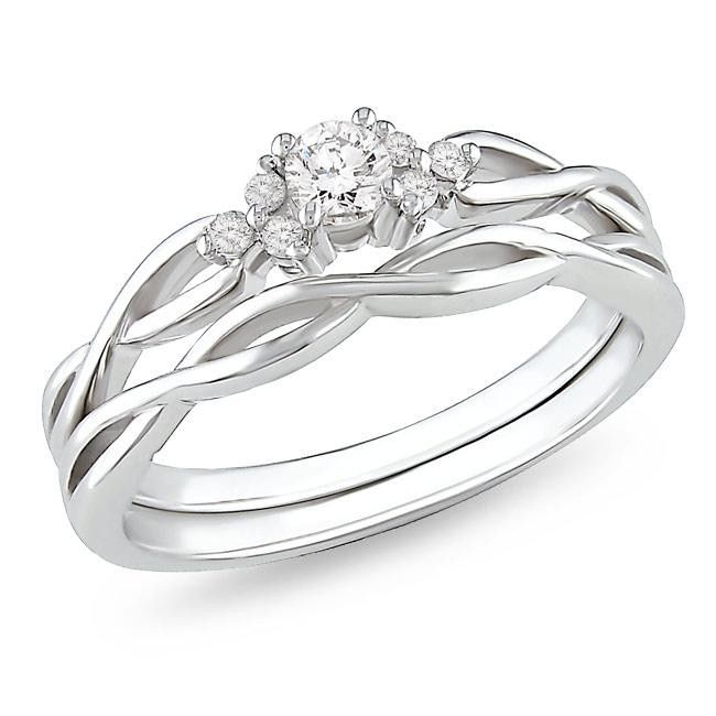 Affordable diamond infinity wedding ring set in 10k white gold - JewelOcean.com