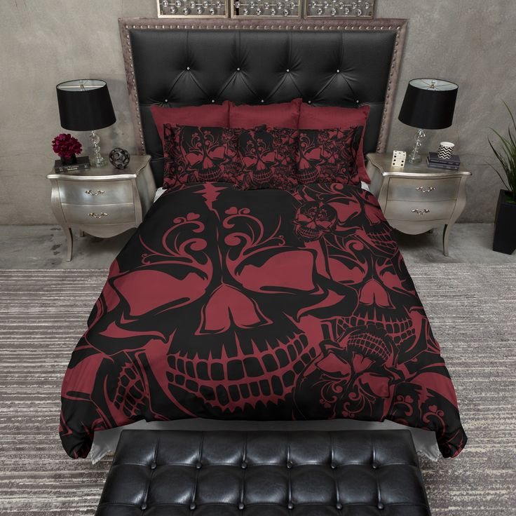 Red and Black Collage Skull Duvet Bedding Sets - I want ALL OF IT. This whole thing.