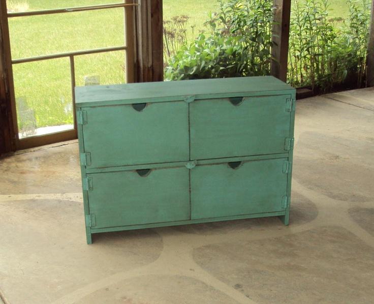 "36"" Wide Distressed Turquoise Toy Chest Dresser Desk Primitive Storage Unit Entertainment Center Shabby Chic. $300.00, via Etsy."