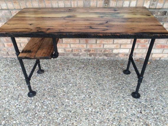 Rustic Reclaimed Barn Wood Nook Desk Table W/ Shelf - Solid Oak W/ 28 Black Iron Pipe legs.  This unique item was created using salvaged Oak from