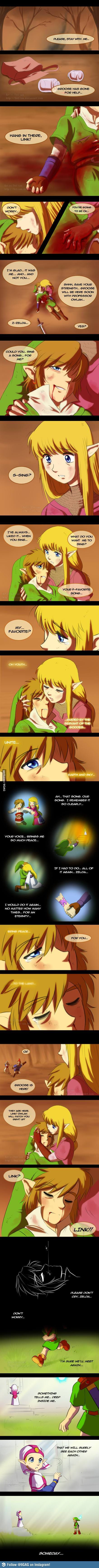 "Link, Zelda, and Groose from Skyward Sword then Link and Zelda from Ocarina of Time - The Legend of Zelda; comic by Ferisae on deviantART, ""We'll meet again"" everytime as sad as before"