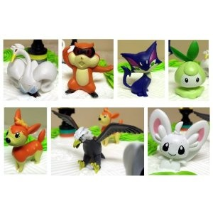 Pokemon 16 Piece Birthday Cake Topper Set Featuring Various Black and White Characters Including Patrat, Purrloin, Driblur, Swanna, Minccino, Petilil, Deerling, Braviary and 6 Pokemon Decorative Cake Buttons 25.00
