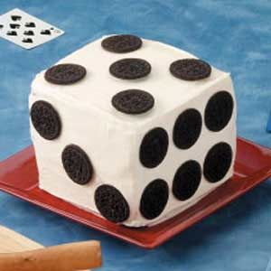 """High Roller Cake..We were """"on a roll"""" right through dessert! Our eye-catching cake was shaped like a giant die with chocolate sandwich cookie spots"""