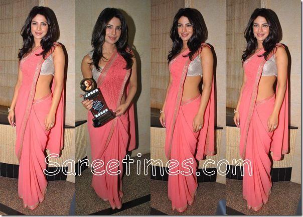Priyanka chopra in Light pink saree at Dadasaheb phalke awards