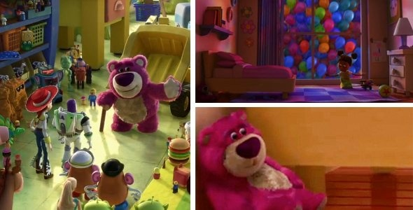 In the new Toy Story 3 trailer we meet a new character, a purple bear by the name of Lots O Huggin'. This character was actually seen in Up when se see the house go past a girls window and he is by her bed.