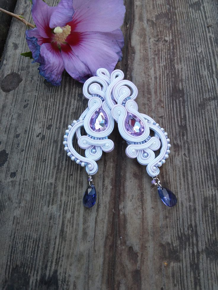 Soutache wedding earrings by MaNiko More http://maniko2013.blogspot.com/2014/08/kolczyki-sutasz-wedding-lavender.html
