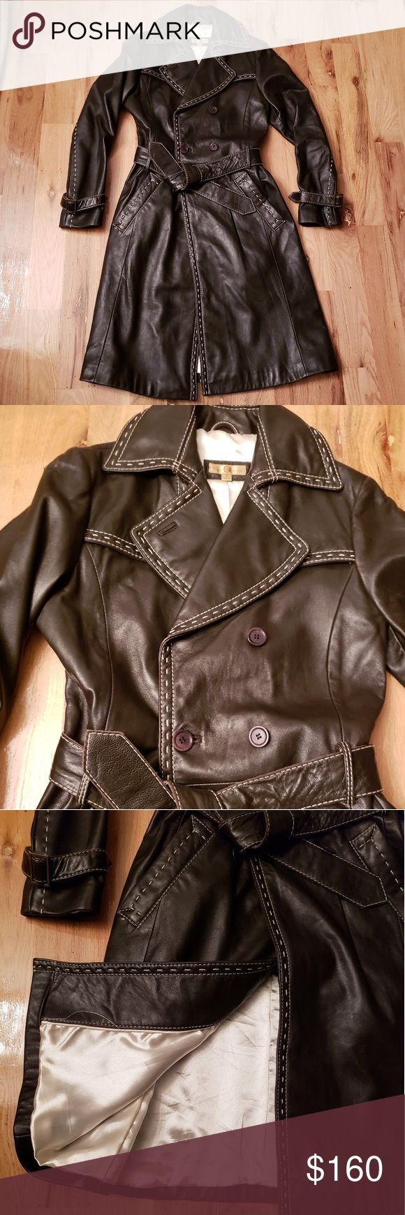 NWOT Wilson's Leather Chocolate Brown Trench Coat