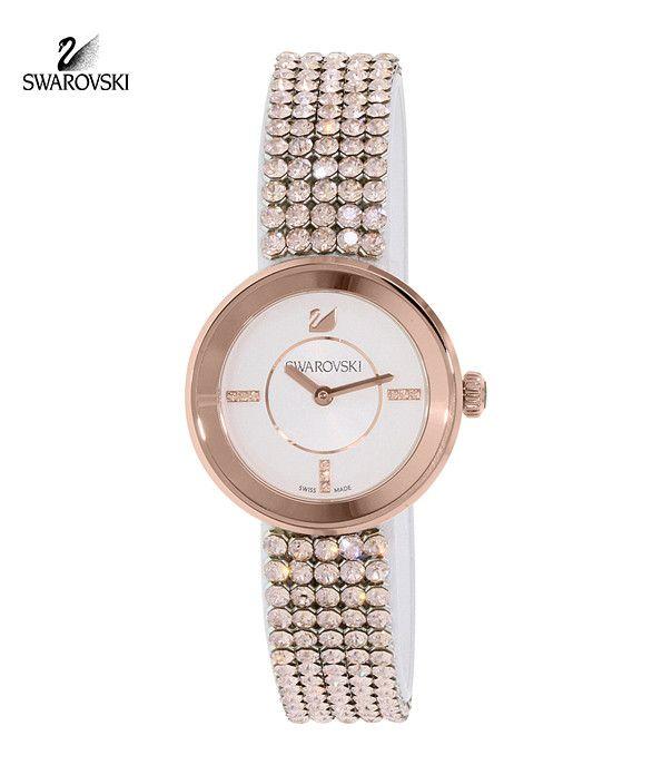 Swarovski Crystal Watch Piazza Mini Mesh Rose Gold Tone #5027319
