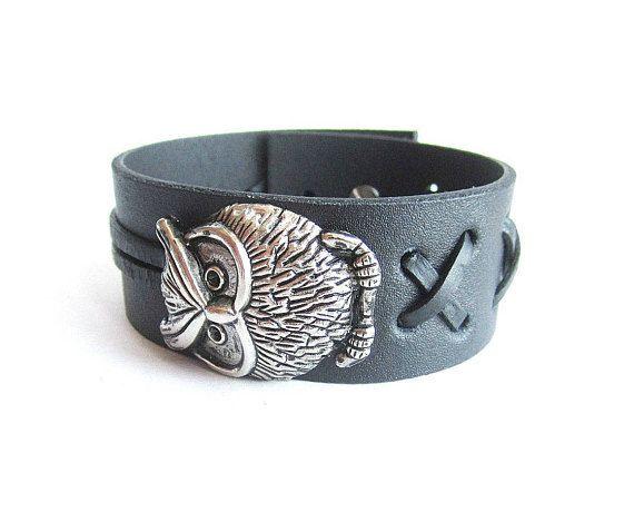 Mens owl leather bracelet mens black leather cuff owl