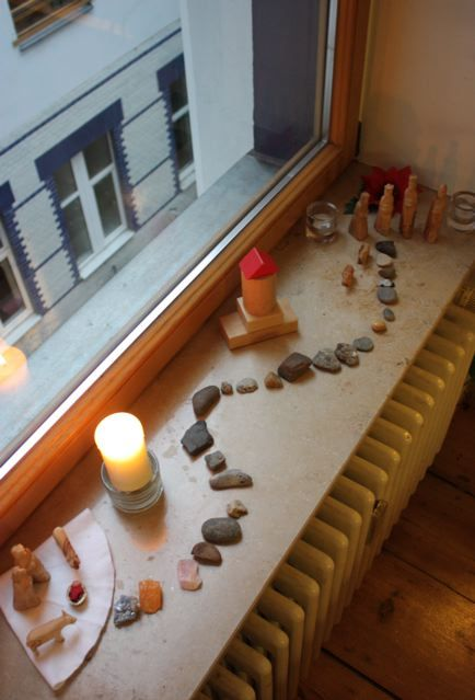Advent Nature Table // 24 stones for the wise men (or you could do Mary/Joseph) to get to the manger.