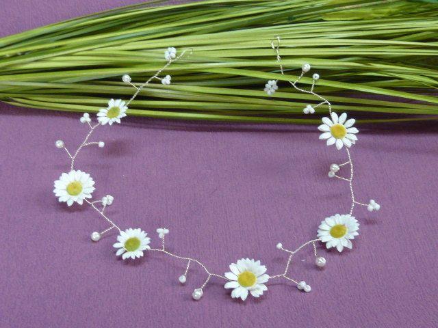 Gänseblümchen Haarschmuck Haarband  zur Kommunion Brautmädchen von Rhoendesign auf Etsy