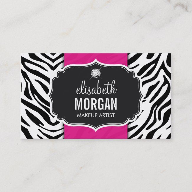 Makeup Artist Trendy Zebra Print Hot Pink Business Card Zazzle Com Printing Business Cards Pink Business Card Personal Business Cards