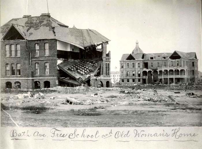 Bath Avenue School, Galveston Texas - destroyed in the great hurricane of  1900, in