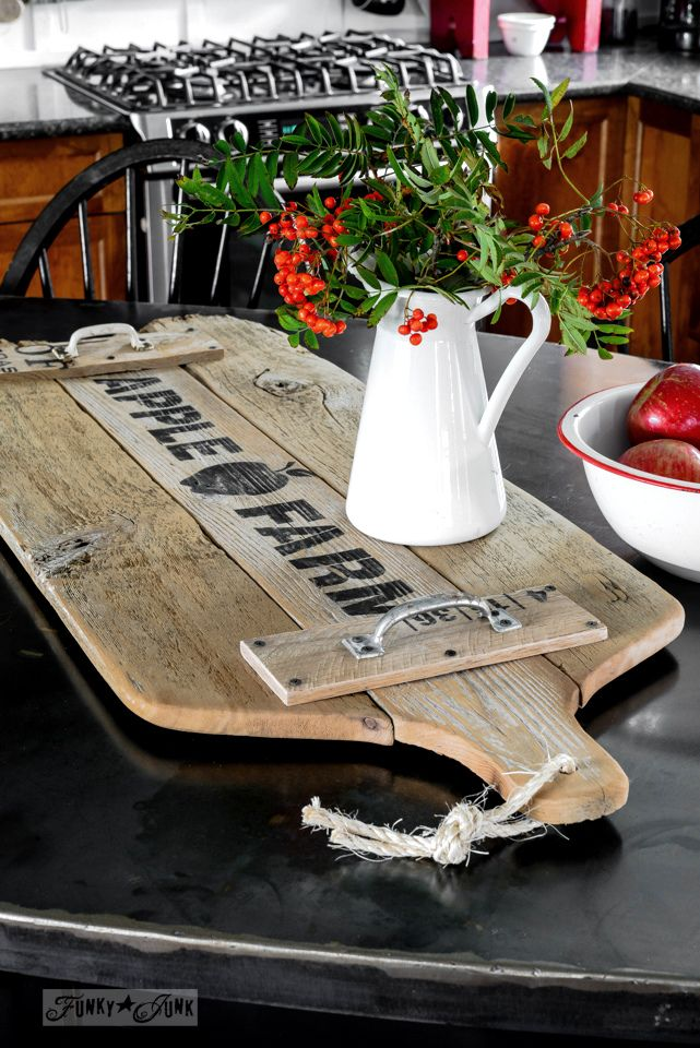 Make an OVERSIZED antique cutting board from reclaimed wood fence planks and a cool stencil! / funkyjunkinteriors.net