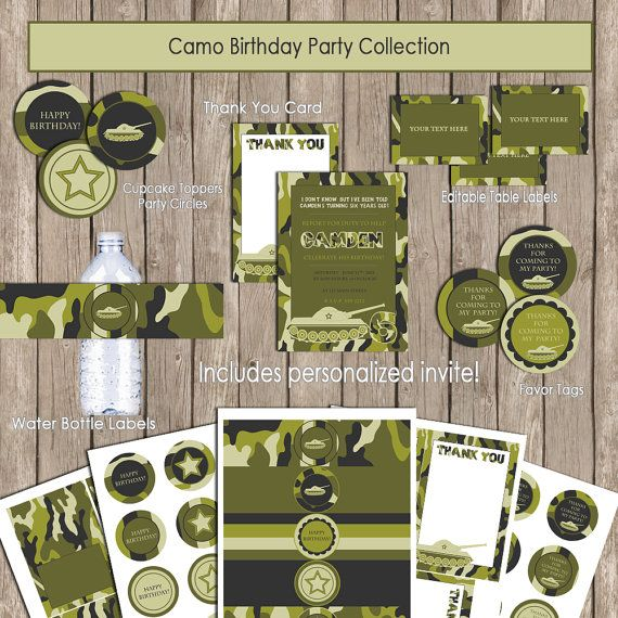 Camo Birthday Party Package, Camo birthday invitation, camo party, camo thank you note, army party, camo1