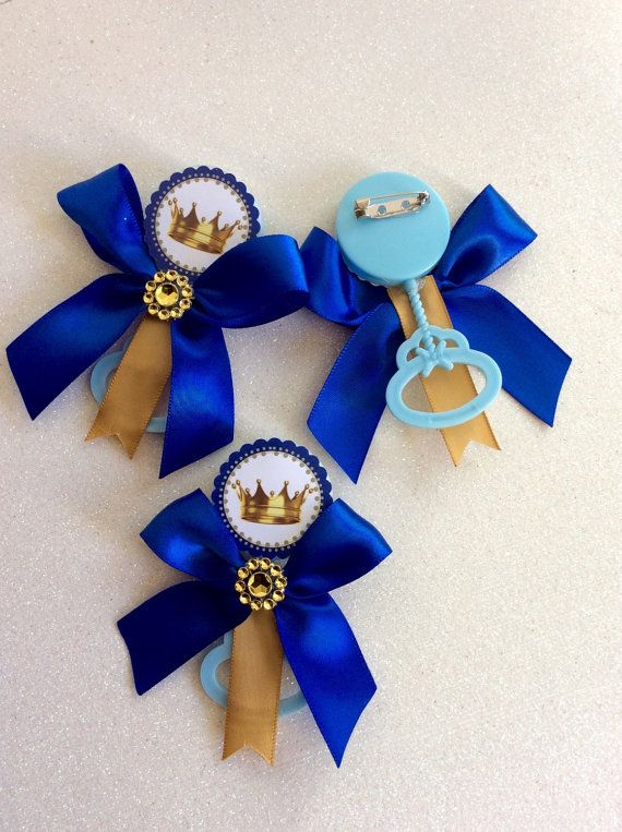 12 Royal Blue Little Prince Baby Shower Pins Rattle