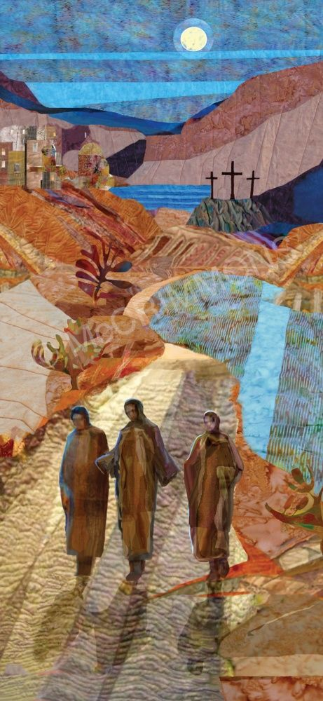 Seasonal Banners - 'The road to Emmaus' by Mike Torevell, also available as a hardwearing PUR board, A3 or A4 poster.