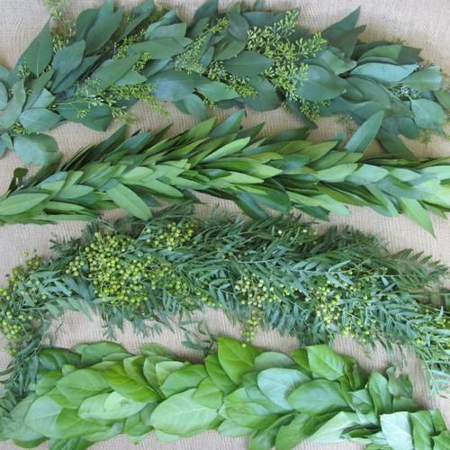 $69.44 Wholesale Garland Single Green - 8 Feet - Bay Leaf,Bush Ivy,Magnolia,Salal,Seeded Eucalyptus,Olive,Rosemary,Safari Sunset - Blooms by the Box