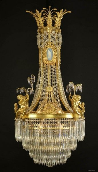 A Louis XVI Style  Chandelier with Wedgwood Style Porcelain Plaques