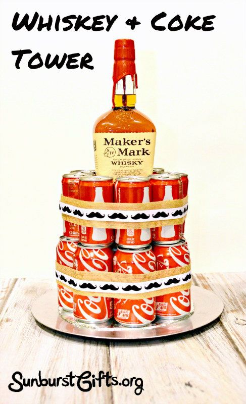 The Whiskey & Coke Tower pairs together his favorite bottle of whiskey with cans of Coke for a stunning presentation.