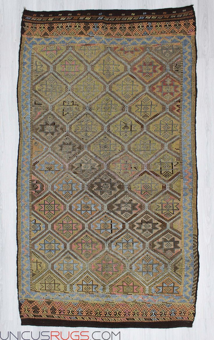 """Vintage handwoven embroidered kilim rug from Denizli region of Turkey. In good condition. Approximately 50-60 years old.  Width: 5' 5"""" - Length: 9' 8"""" Embroidered Kilims"""