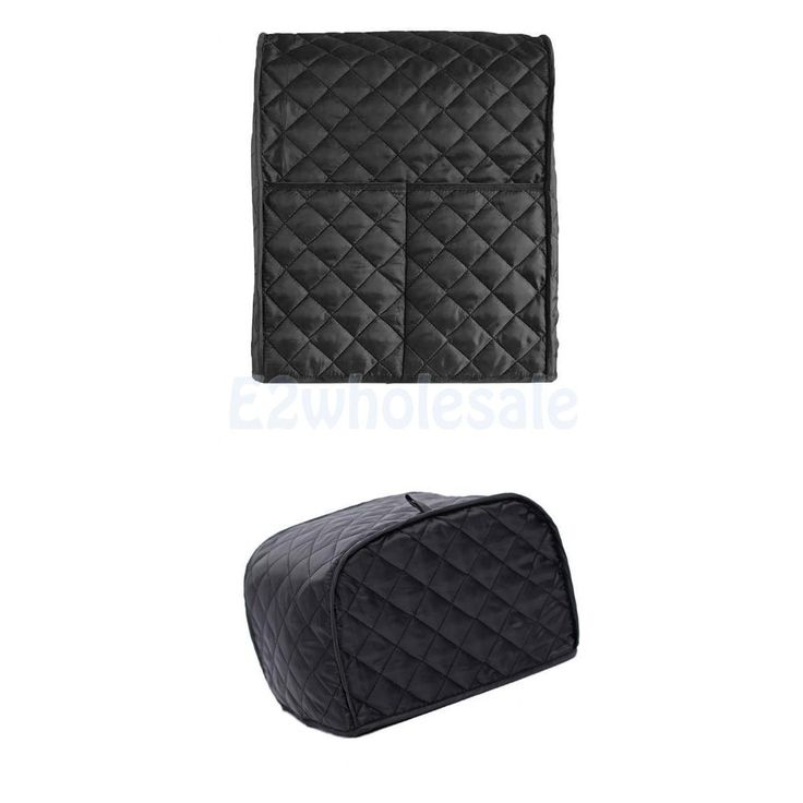 Polyester 2-Slice Bread Toaster Mixer Cover Bakeware Protector Black Grid