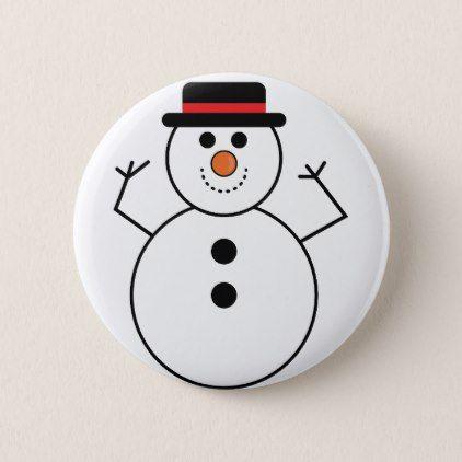 Snowman Cartoon Pinback Button - christmas buttons holidays merry xmas cyo unique