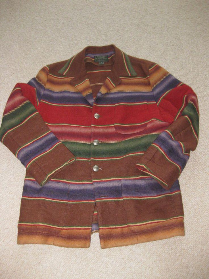 Vtg Polo Ralph Lauren Navajo Indian Chimayo Southwestern Blanket Coat