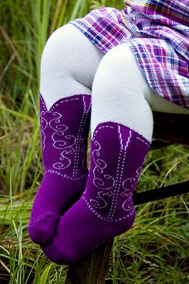 Cowboy Boot Tights! Cute idea for a baby girl!