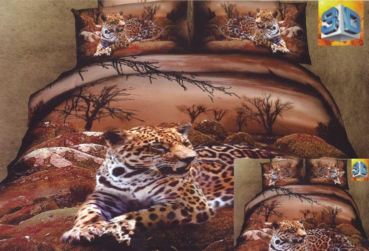Pościele brązowe na łóżko z gepardem