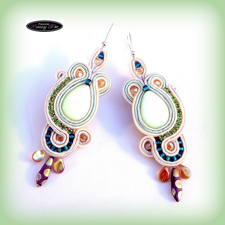 Long soutache earrings Montana with Pearl by UroczyDar on Etsy