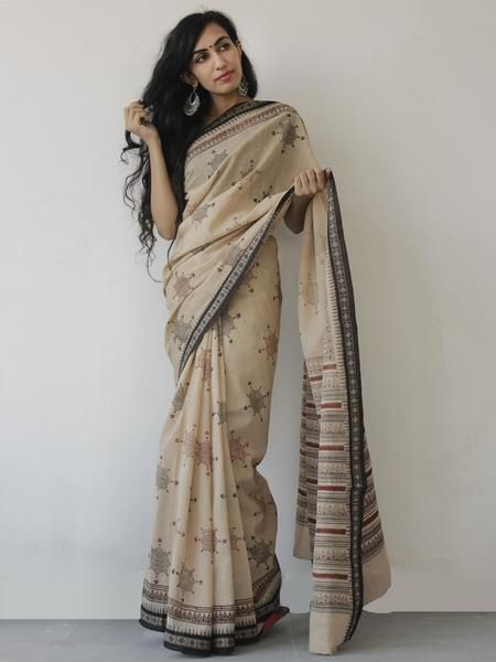 Beige Maroon Black Khadi Hand Block Printed Saree in Natural Dyes - S031702489