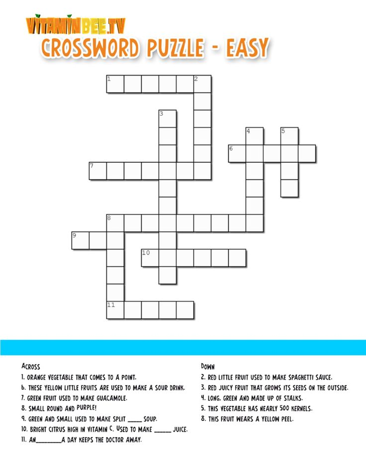 Help Vitamin Bee Fill In The  Crossword  Puzzle With The