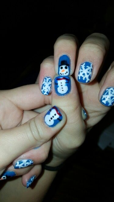 Snowman nails I did for my niece.  She found the design online.
