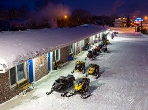 Sleds parked at Moonlight Inn & Suites