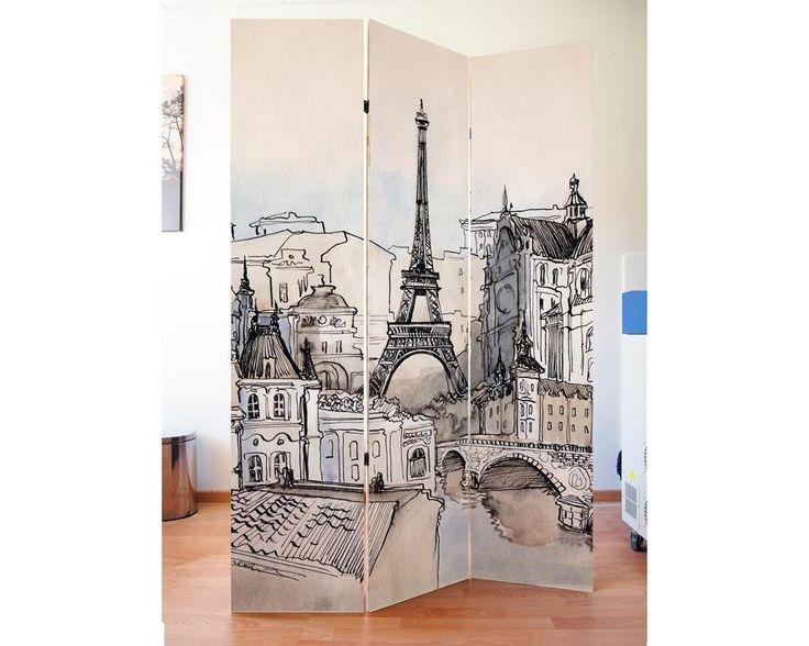 Paris scenery vector art,πτυσσόμενο διαχωριστικό (Παραβάν,ξύλινο ή καμβάς)