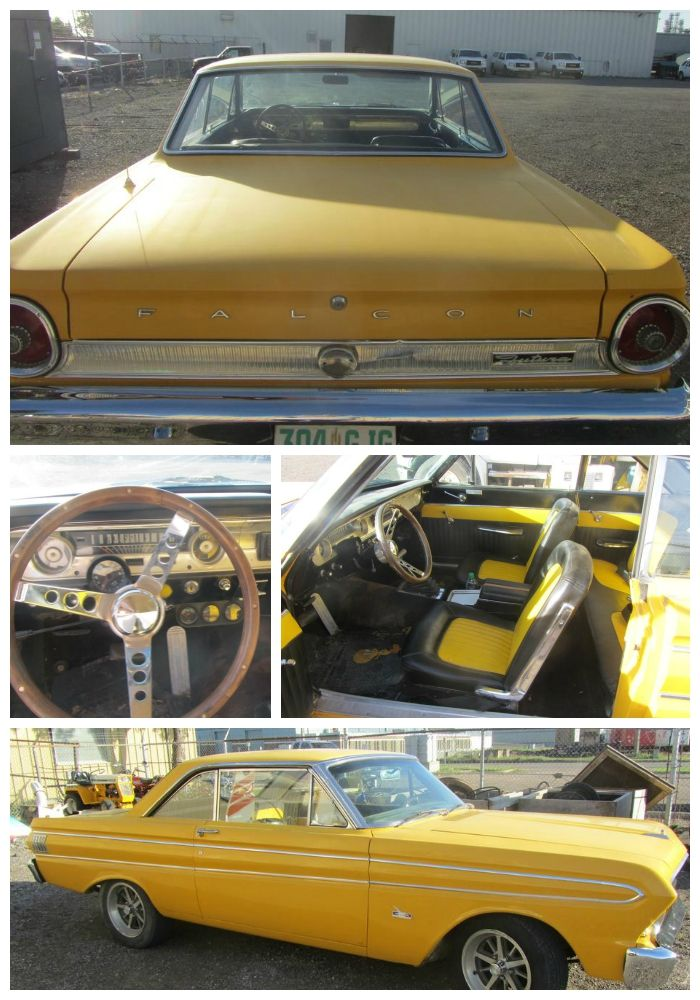 A 1964 Ford Falcon. The perfect #classiccar to take you into a grey fall and winter season. We love this sunny yellow! #vintage #car #vintagecar