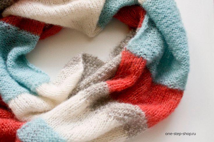 Мастер-класс по вязанию простого длинного красивого шарфа полосками спицами, только лицевые и изнаночные