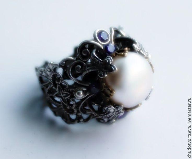 Купить винтаж Викторианская Эпоха кольцо ручной работы жемчуг аметисты брасс - серебряный, винтаж