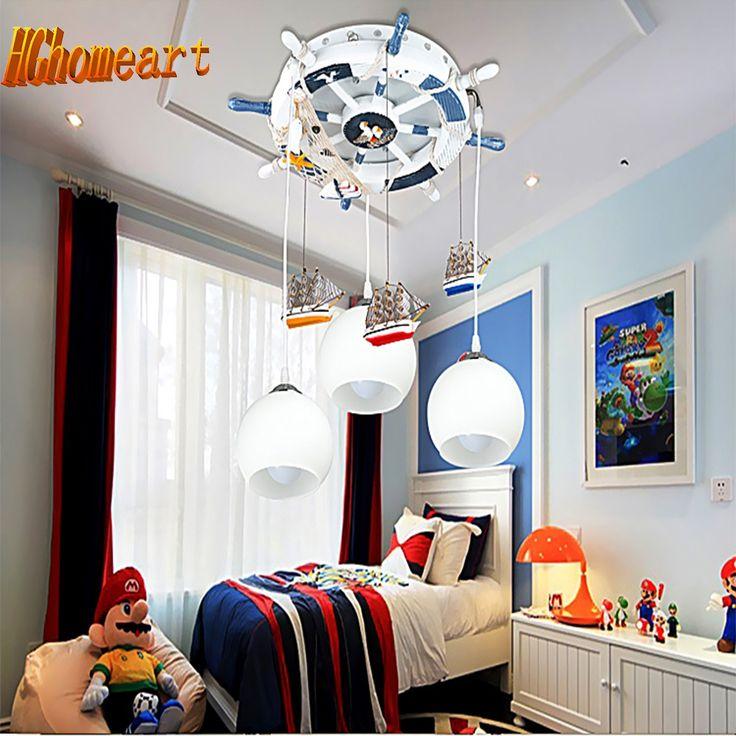 114.75$  Watch now - http://alijpc.worldwells.pw/go.php?t=32782998065 - Mediterranean Style Kids 3 Head Glass Ball Light Pendant Lights E27 110V/220V Cartoon Led Pendant Lamp for Dining Room Modern
