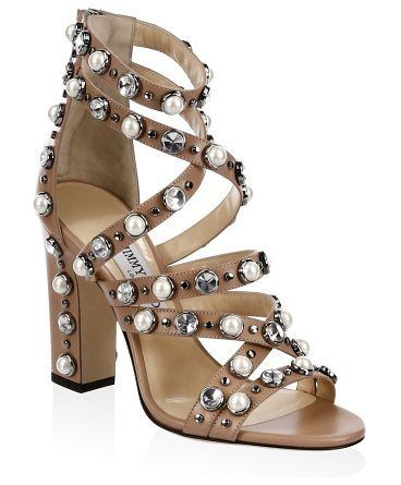 "moore beaded sandals by Jimmy Choo. Block heel, 4"" (100mm).Leather upper. Open toe. Back zip closure. Leather sole. Made in Italy. #jimmychoo #nudeshoes #sandals"