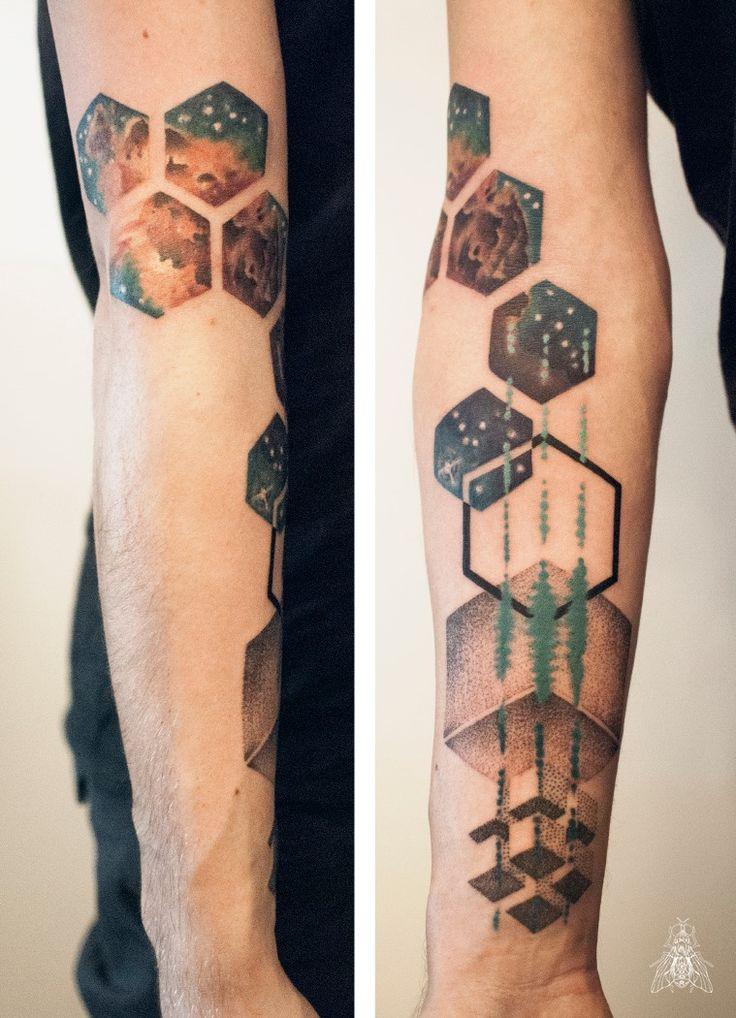by Mopik, Musca Imago #ink #tattoo #geometry #peppershade #nebula