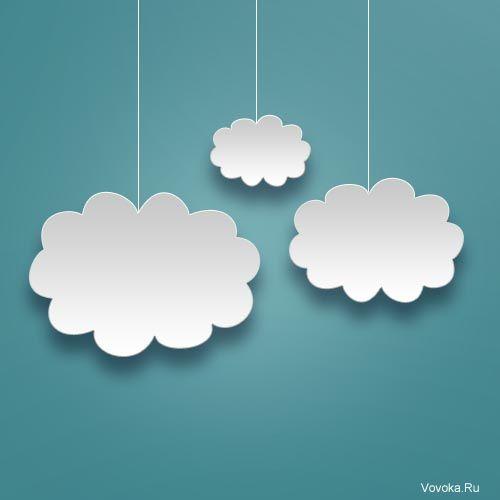 Векторные Бумажные Облака на Синем Фоне