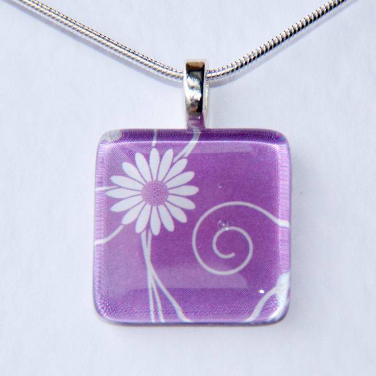 Handmade Glass Tile Purple Flower Pendant - pinned by pin4etsy.com